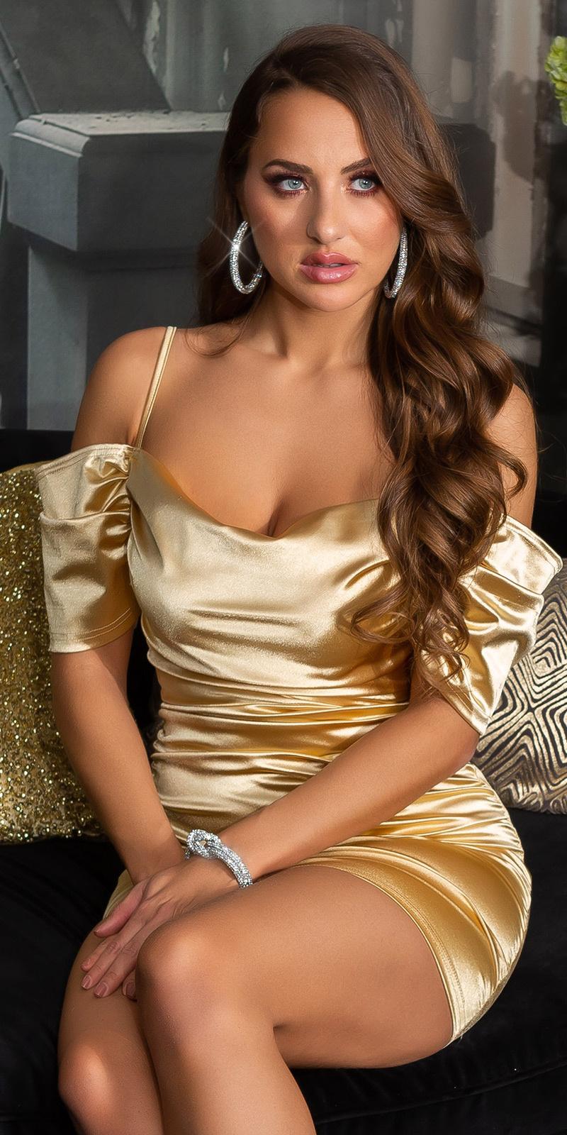Sexy off-shoulder satijn look mini jurkje goud