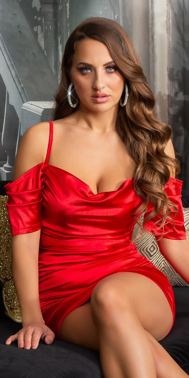 Sexy off-shoulder satijn look mini jurkje rood