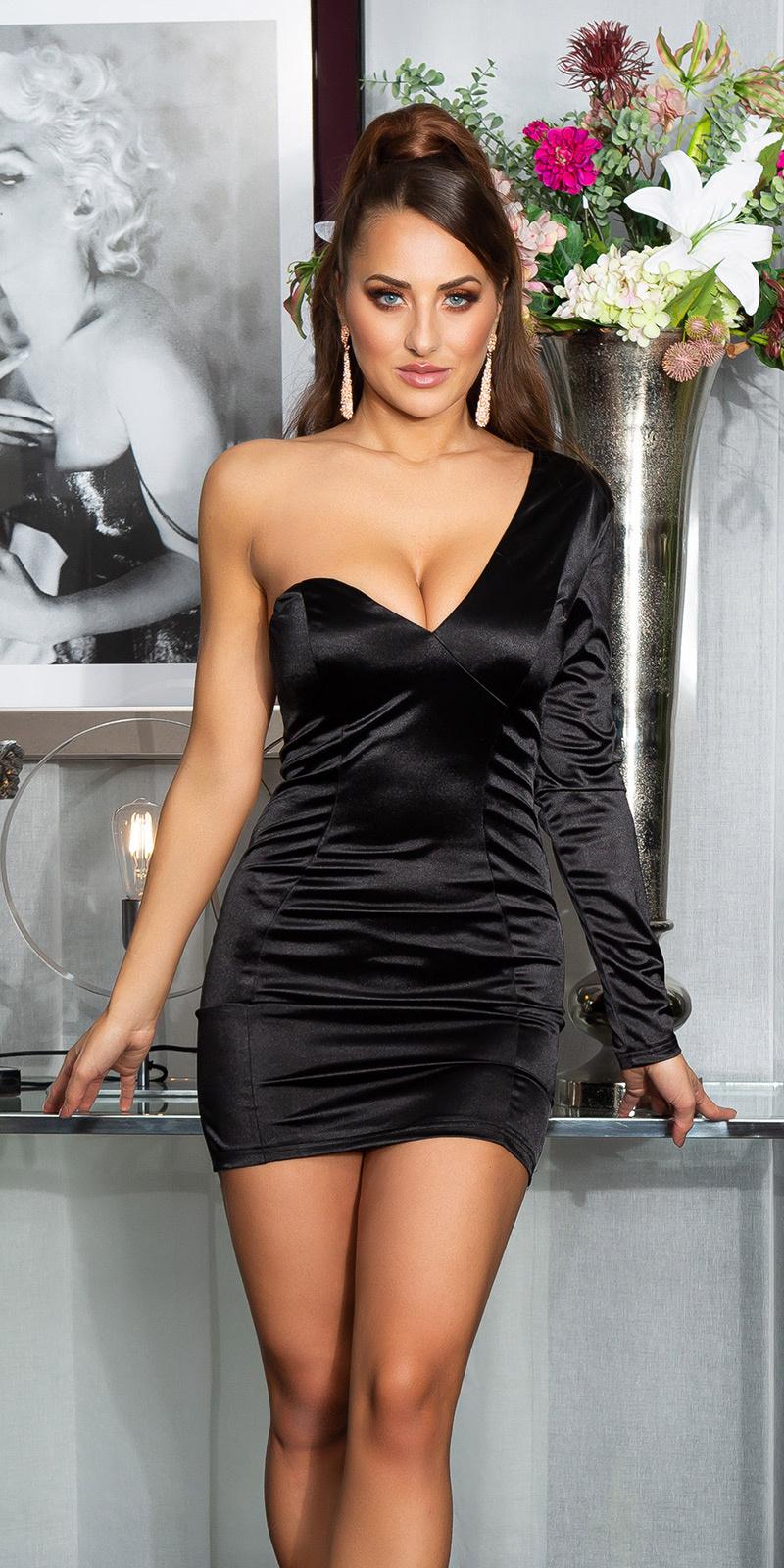 Sexy satijn look een-schouder mini jurkje zwart
