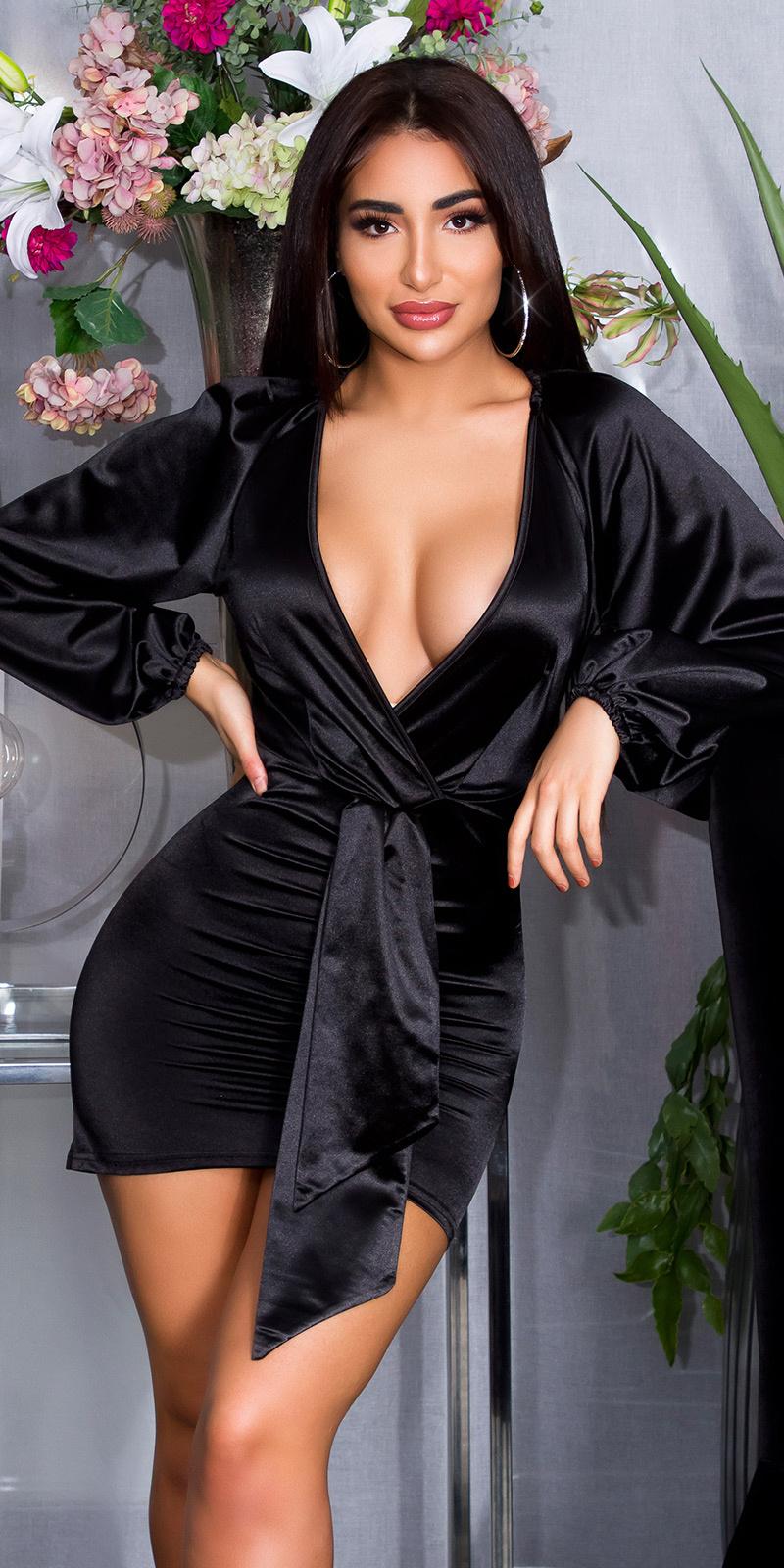Sexy diepe v-halter satijnen mini jurkje zwart