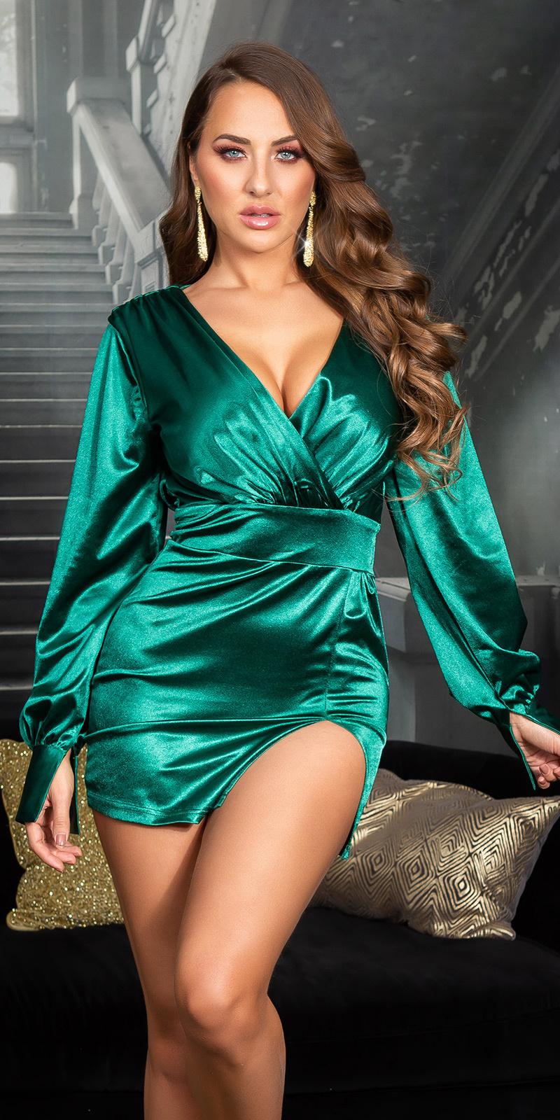 Sexy satijn look v-halter mini jurkje groen