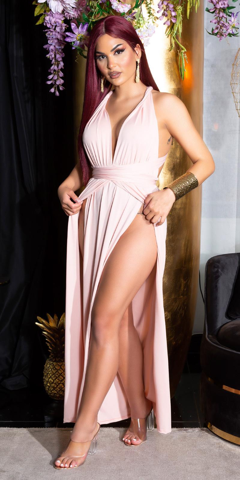 Sexy two-split open rug maxi halter jurk roze