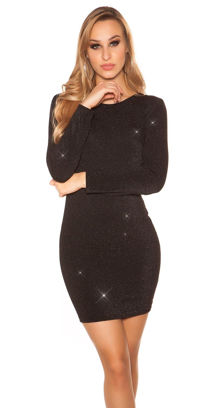 Sexy glitter lange mouw feest uitgaans jurk zwart