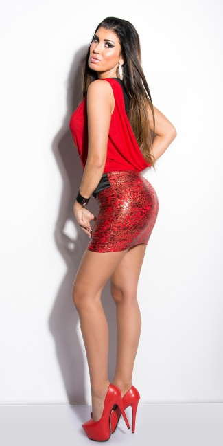 Sexy minidress transparent with leo-print Red