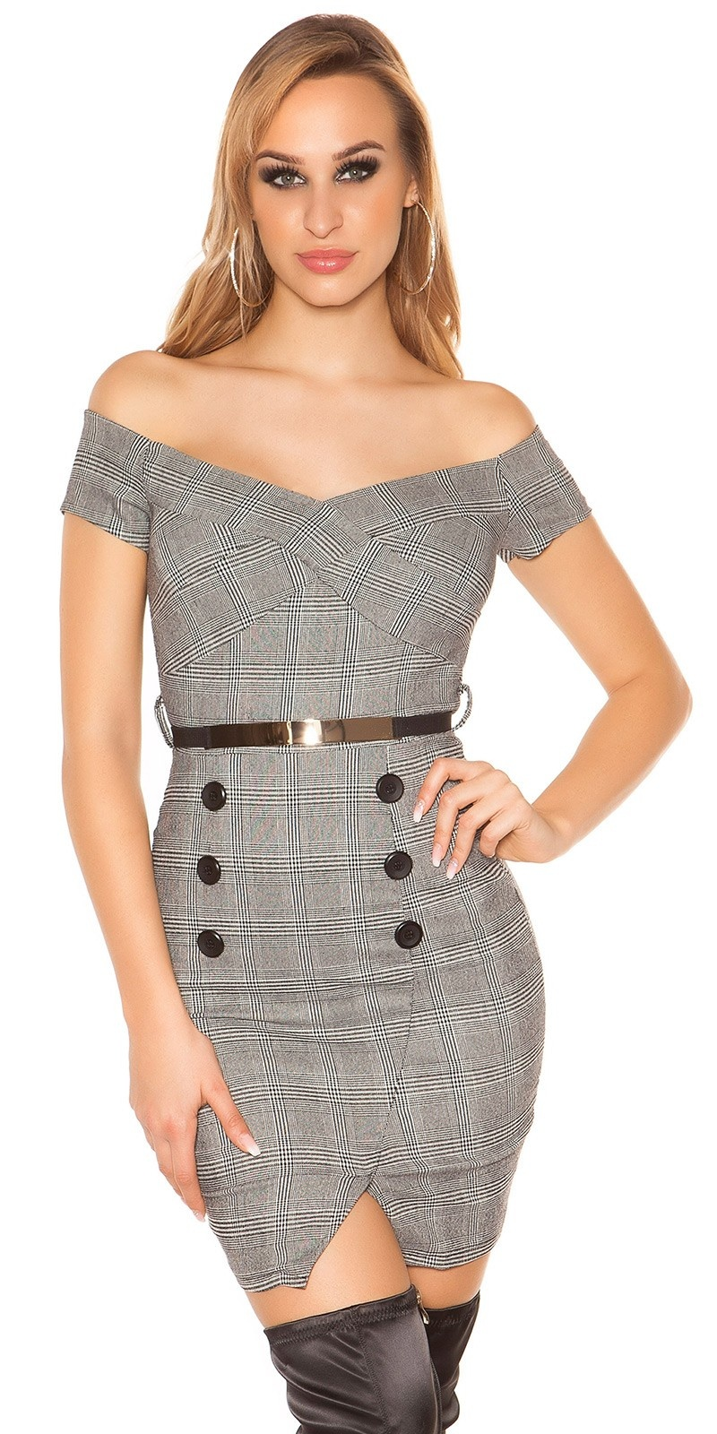 Trendy business look dress plaid with belt Blackwhite