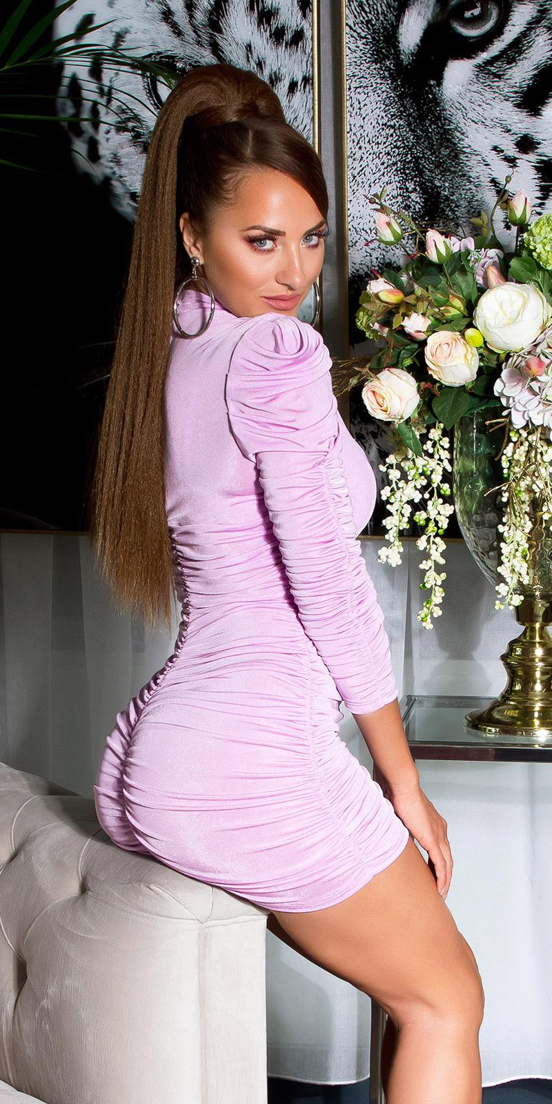 Sexy volant-geplooide langmouw jurk lila