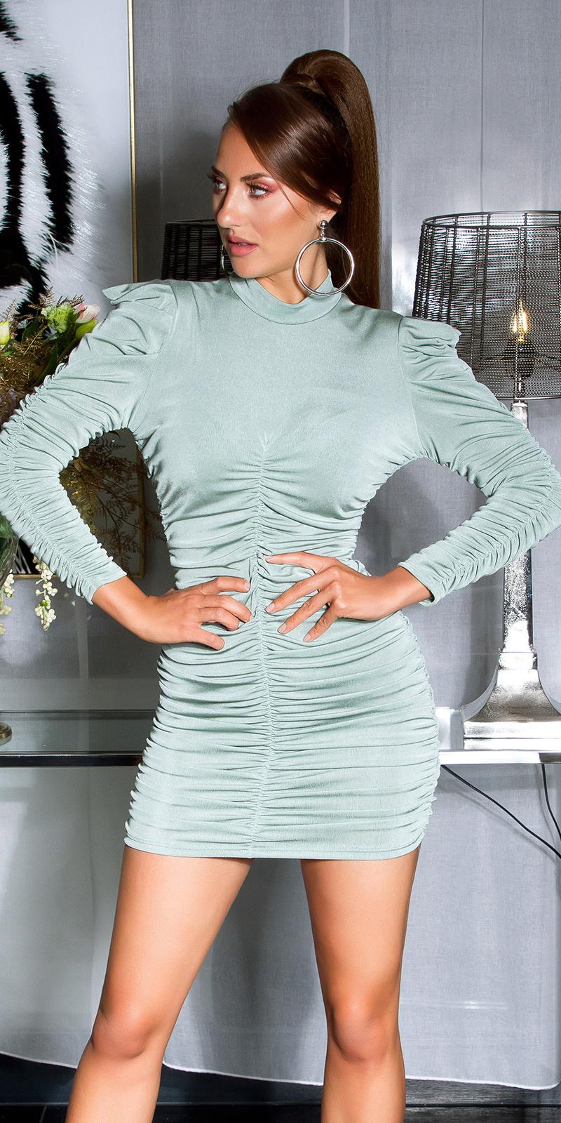 Sexy volant-geplooide langmouw jurk khaki