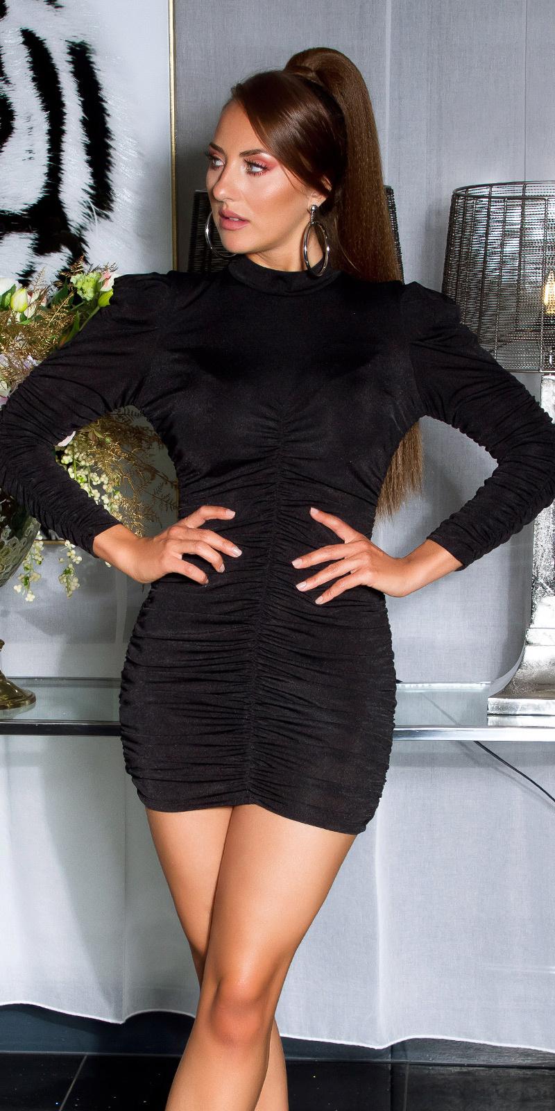 Sexy volant-geplooide langmouw jurk zwart
