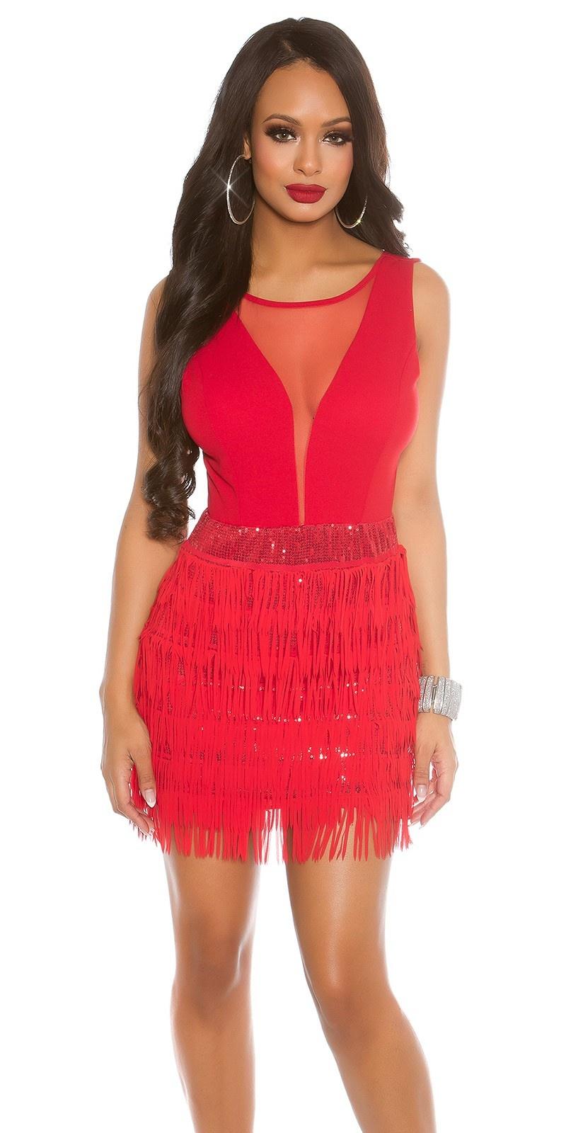 Sexy koucla-mini-feest uitgaansjurk met franjes rood