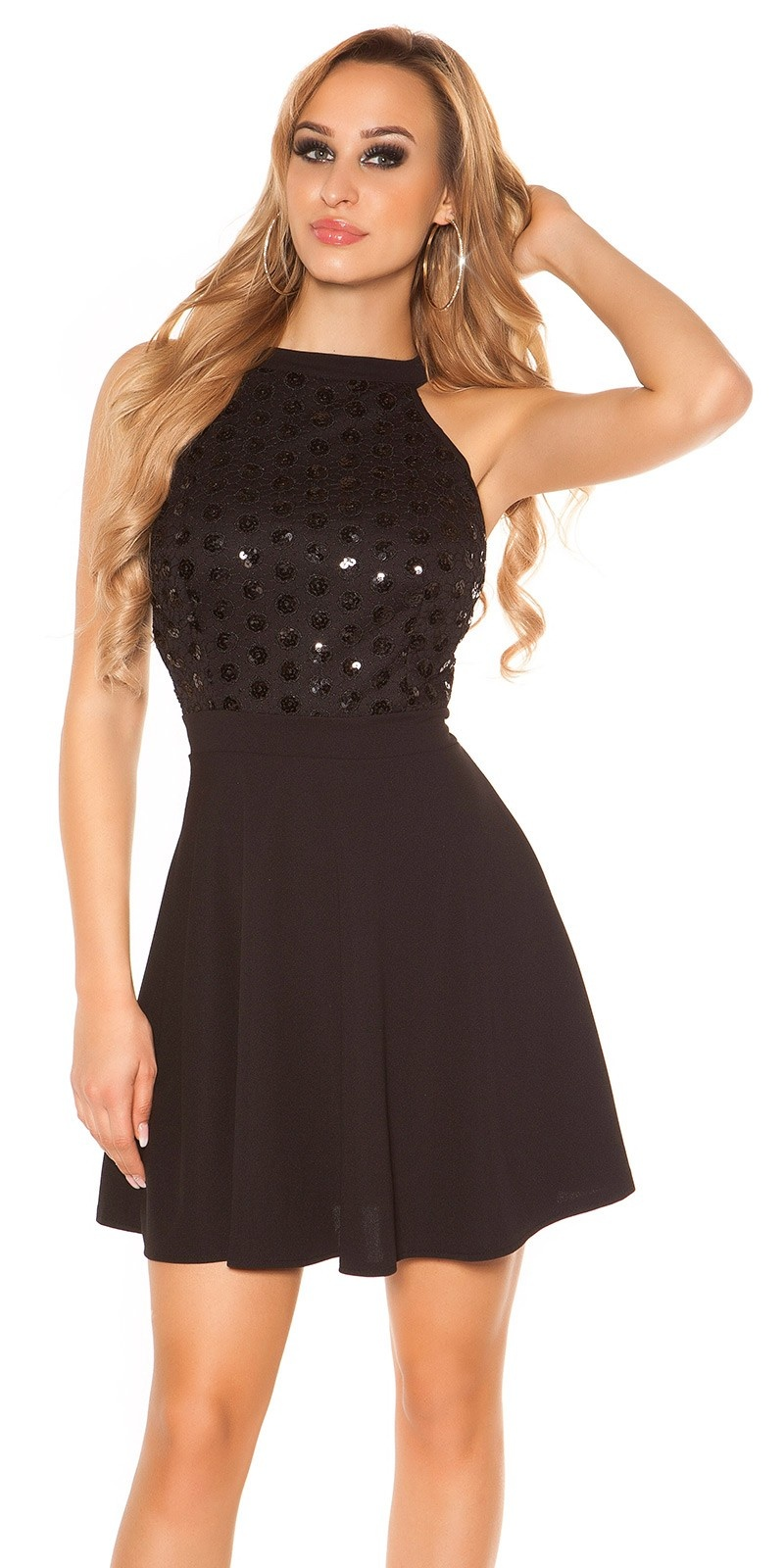 Sexy mini dress with sequins Black