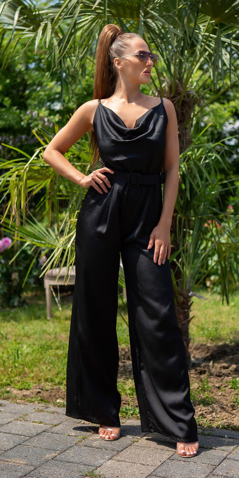 Sexy open rug overall met riem zwart