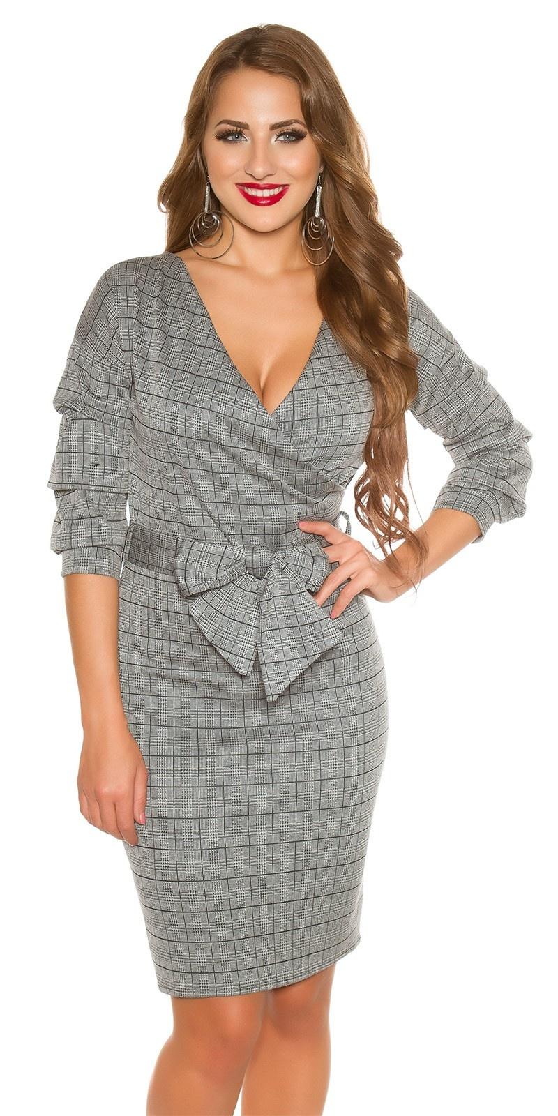 Sexy business jurk met strik grijs