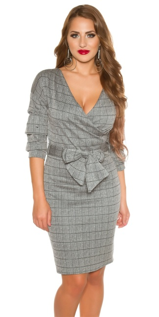 Sexy business dress with gathering and bow Grey
