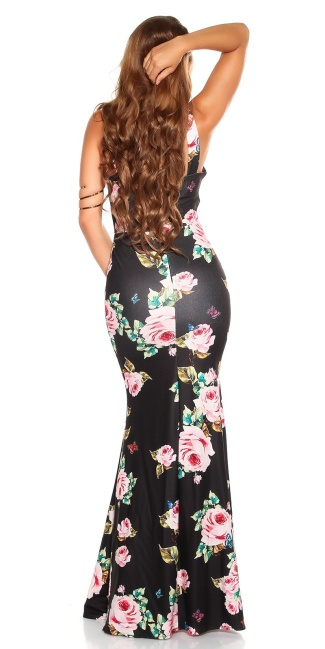 Sexy Maxidress with Flower-Print Black