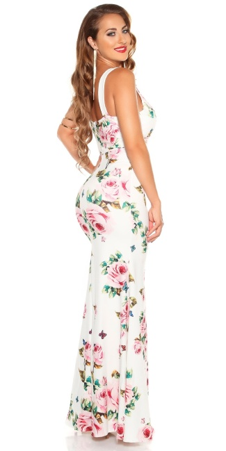 Sexy Maxidress with Flower-Print White