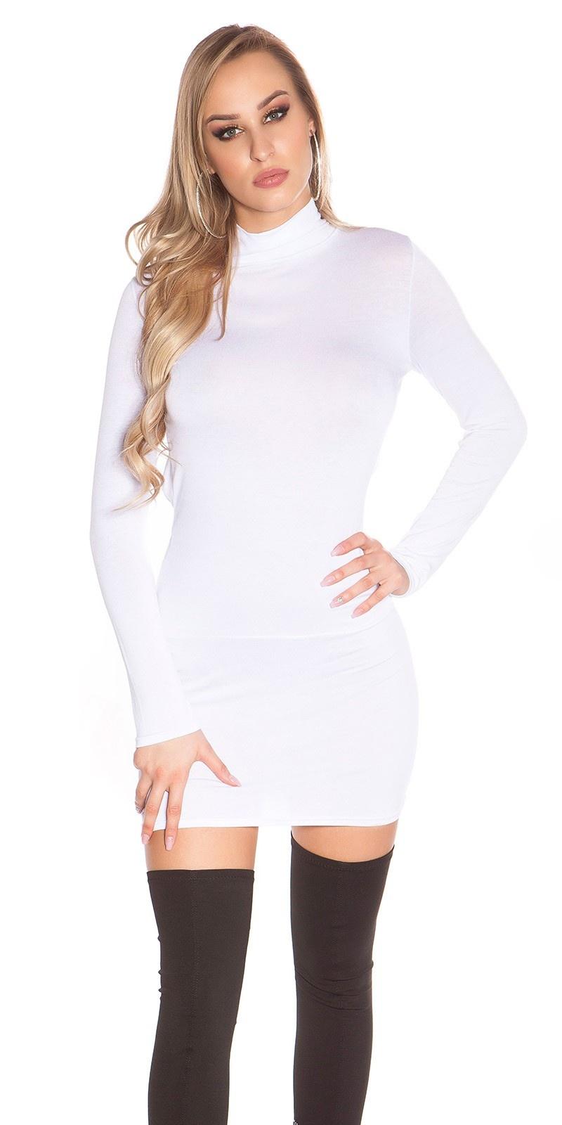 Sexy mini jurkje, open rug met col wit