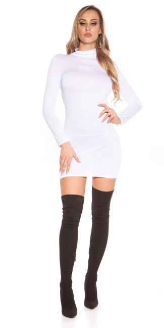Sexy Minidress, backless with turtle neck White