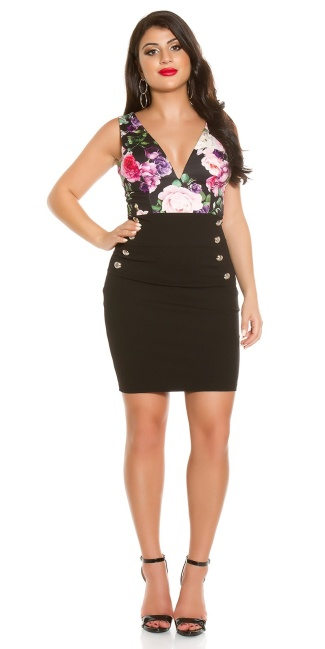 Sexy KouCla sheath dress with floral print Black