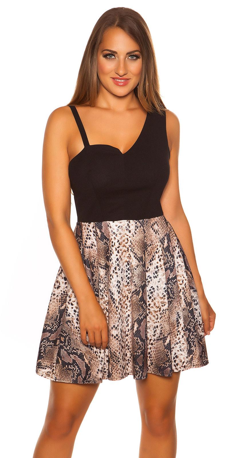 Sexy jurk asymmetrisch met slangen-print