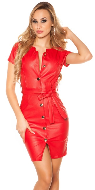 Sexy leatherlook dress with belt & buttoned, lined Red