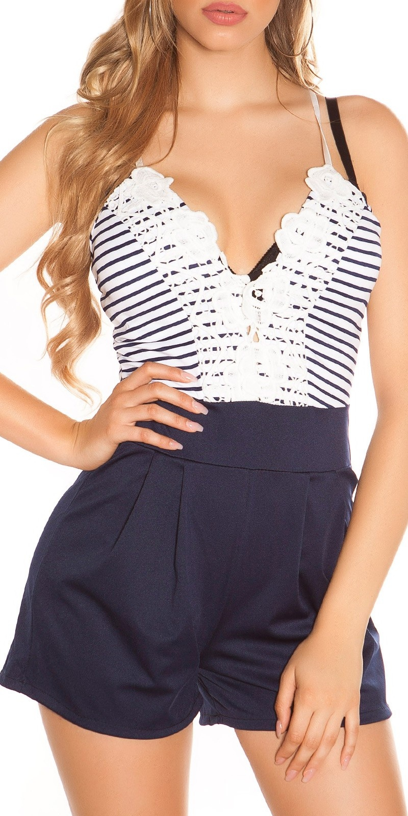 Sexy striped summer playsuit with lace Navy
