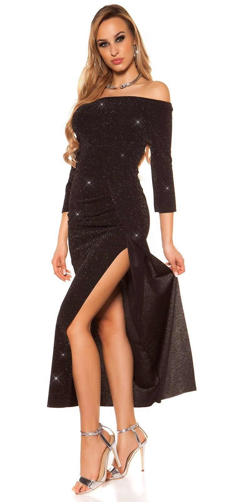 Sexy Off Shoulder Glitter Maxi Evening Dress Black