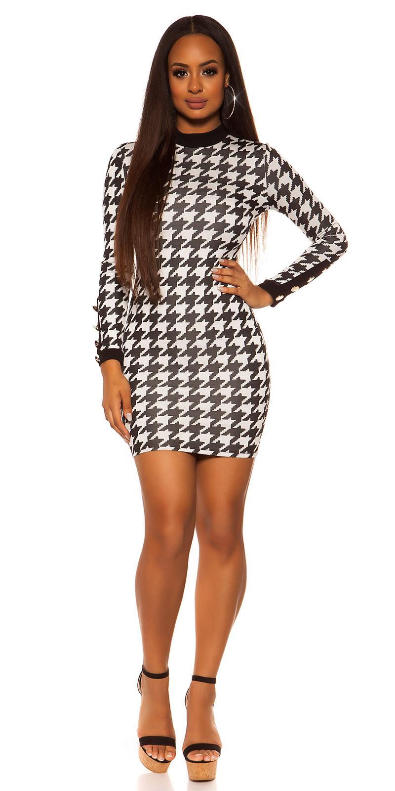 Sexy mini jurkje in pied-de-poule patroon zwartwit