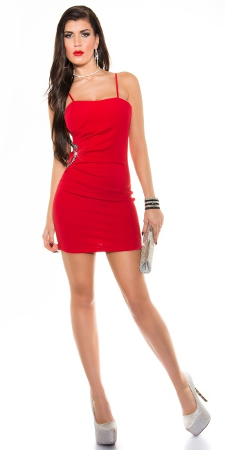Sexy KouCla minidress with insight and rhinestones Red