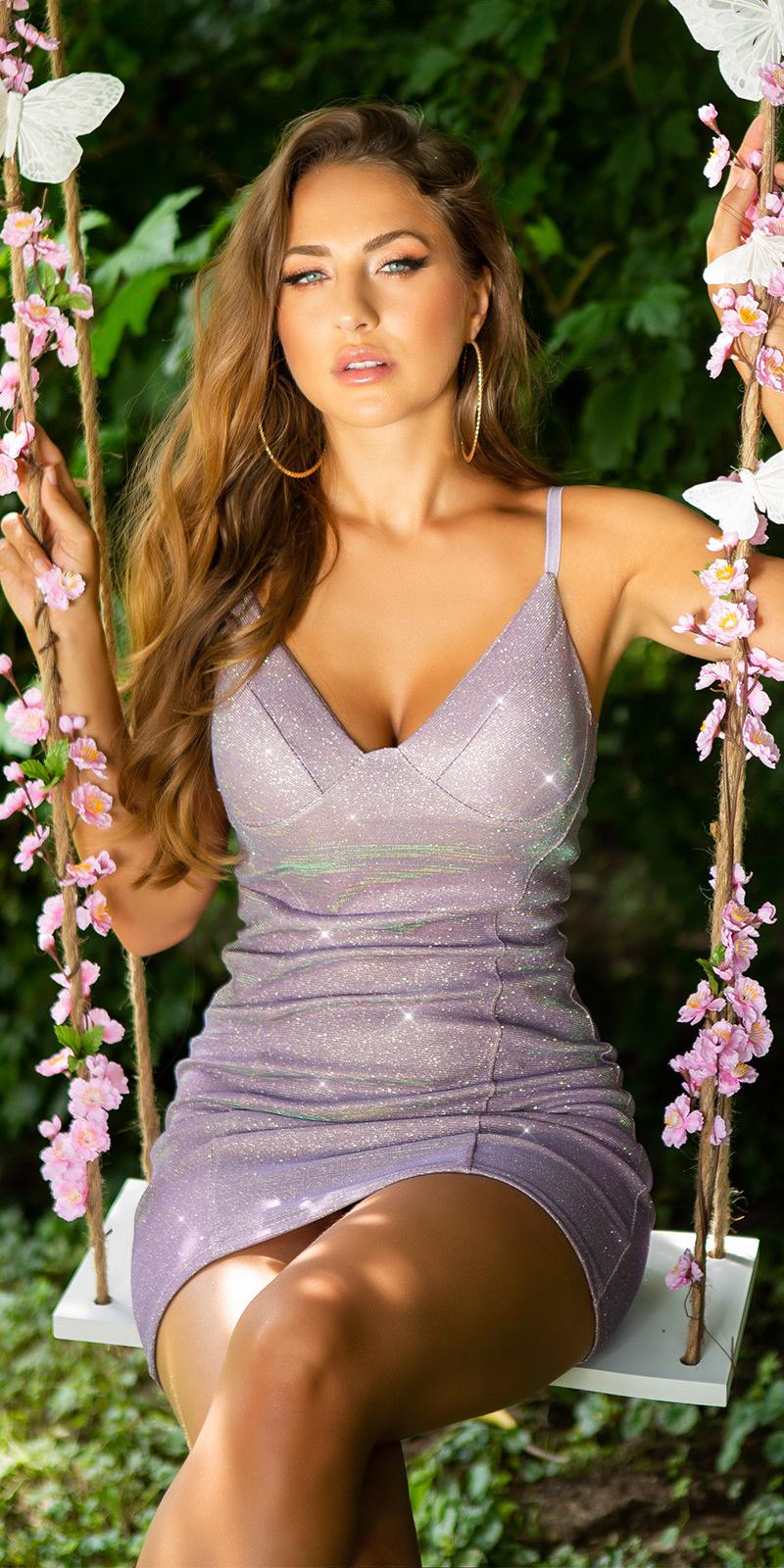 Sexy bodycon mini jurkje in metallic look lila