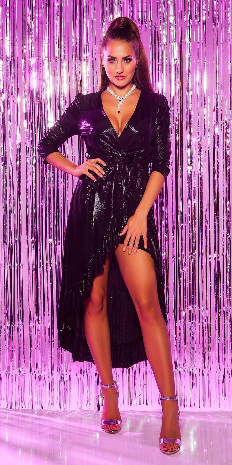 Sexy feest uitgaans jurk 3/4 mouwen wikkel look zwart