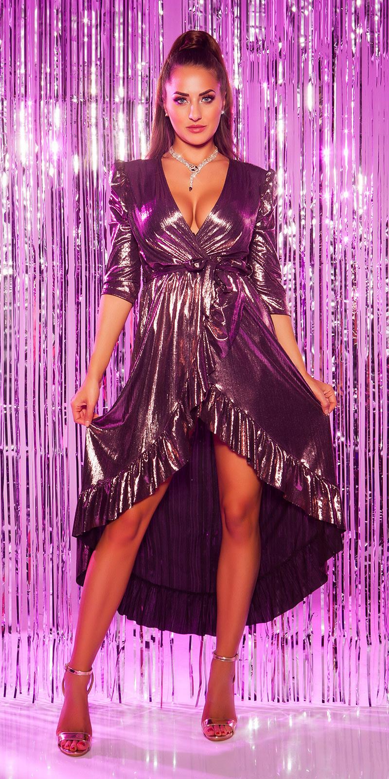 Sexy feest uitgaans jurk 3/4 mouwen wikkel look paars