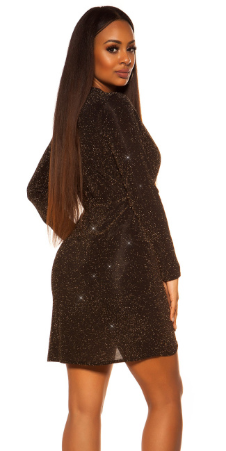 Sexy Glitzer Langarm-Partydress wrap look Gold