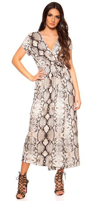 Sexy wrap look dress with belt snake print Cream