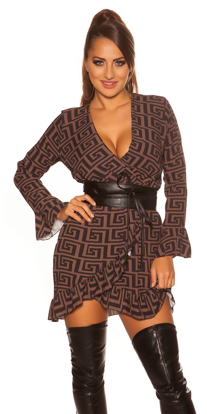 Sexy dress in wrap look with flounce & pattern Brown