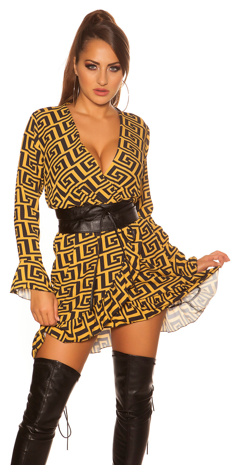 Sexy dress in wrap look with flounce & pattern Mustard