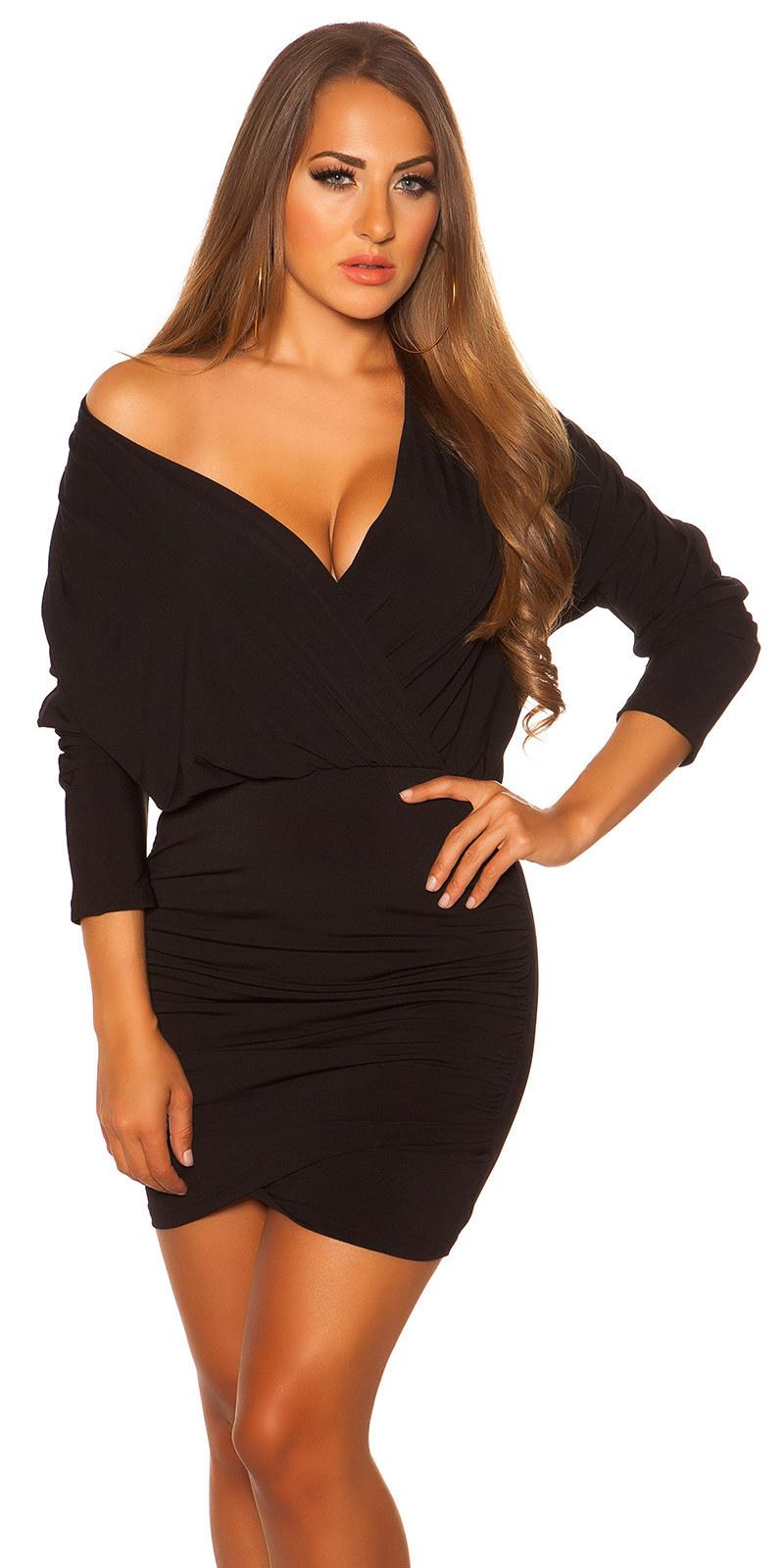 Sexy dress wrap look with low neckline Black