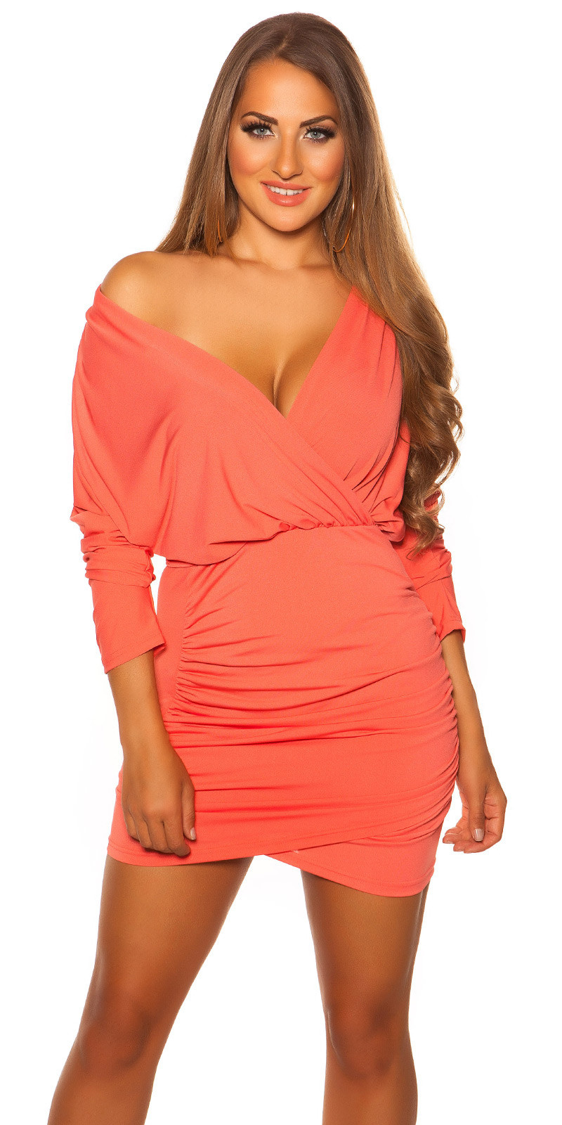 Sexy jurk wikkel look met lage halslijn koraal-kleurig