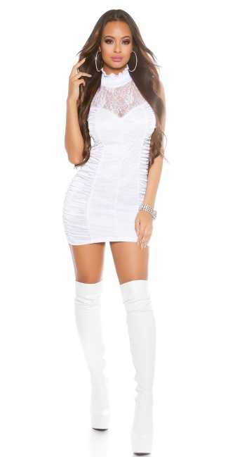 Sexy mini-dress, turnable with zipper White