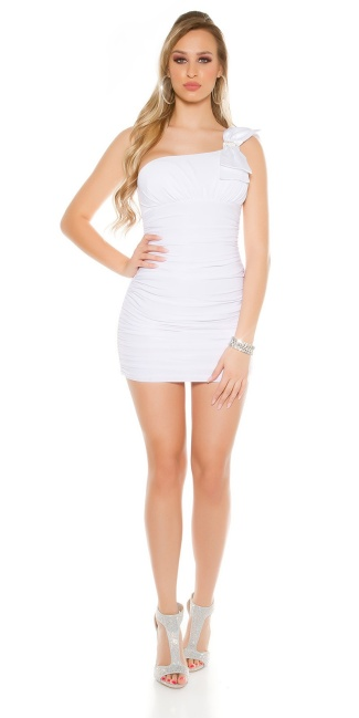 Sexy mini dress, ruffled with loops carrier White