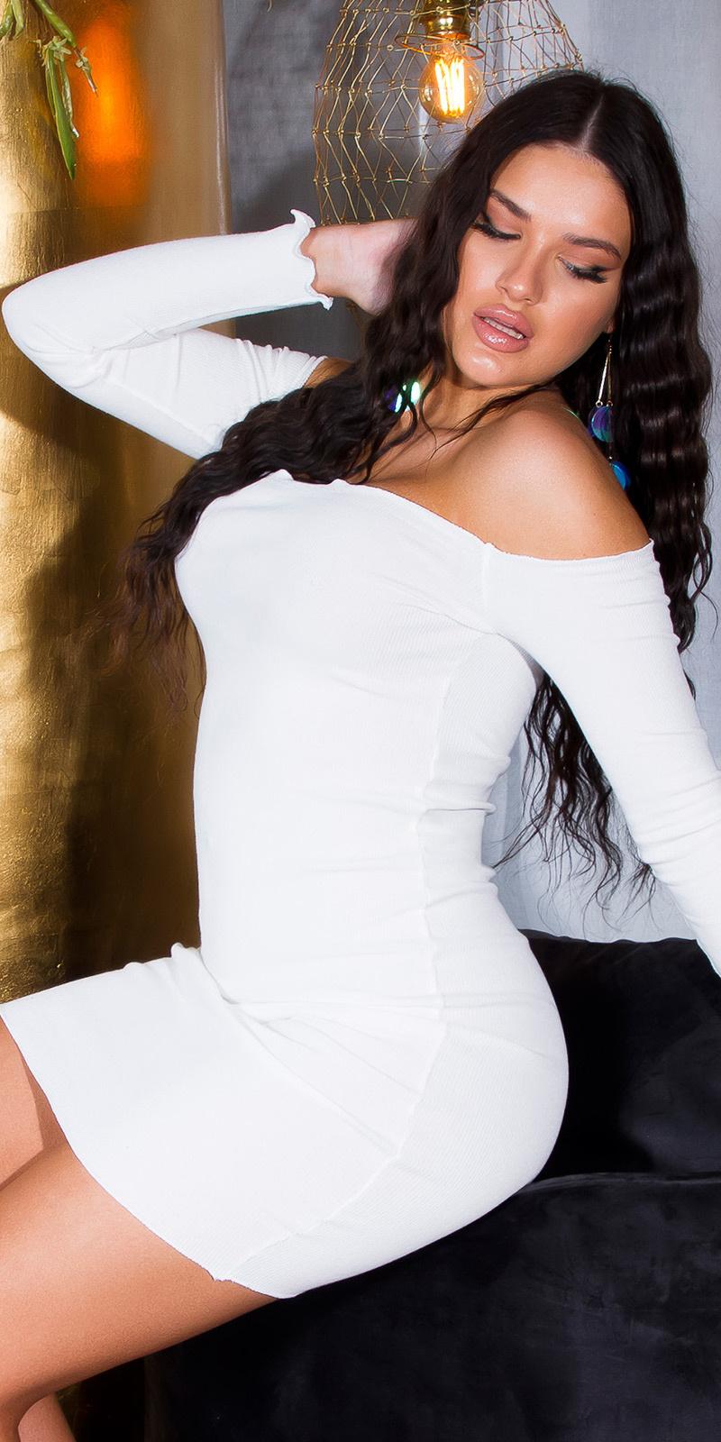 Sexy basic geribde off-shoulder bodycon jurk wit