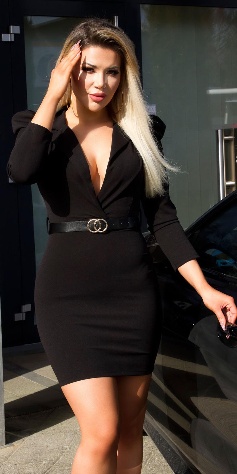 Sexy xl v-halter mini jurkje met riem zwart