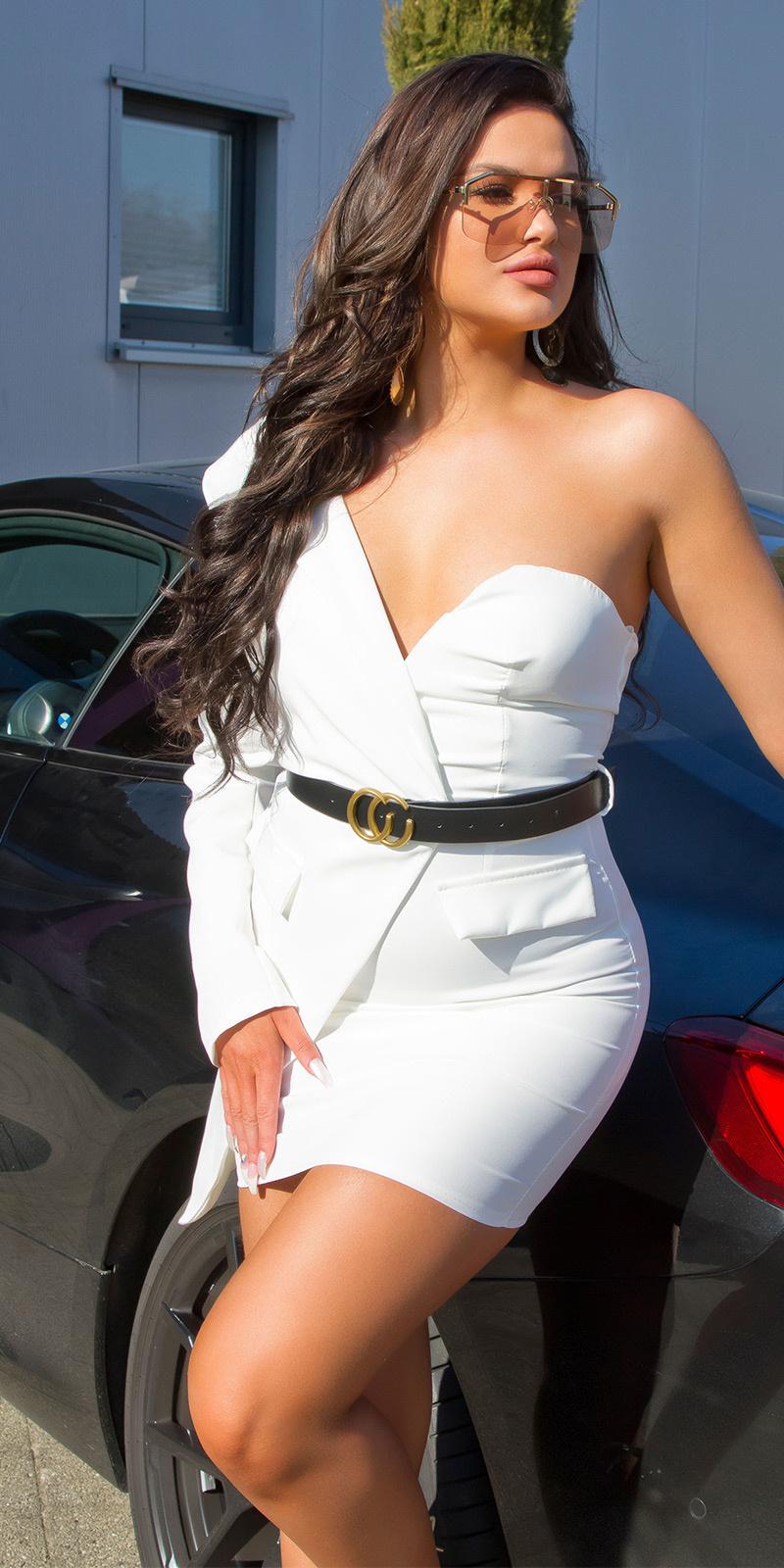 Sexy een-schouder bodycon jurk met riem wit