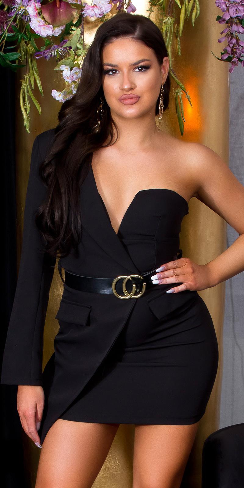 Sexy een-schouder bodycon jurk met riem zwart