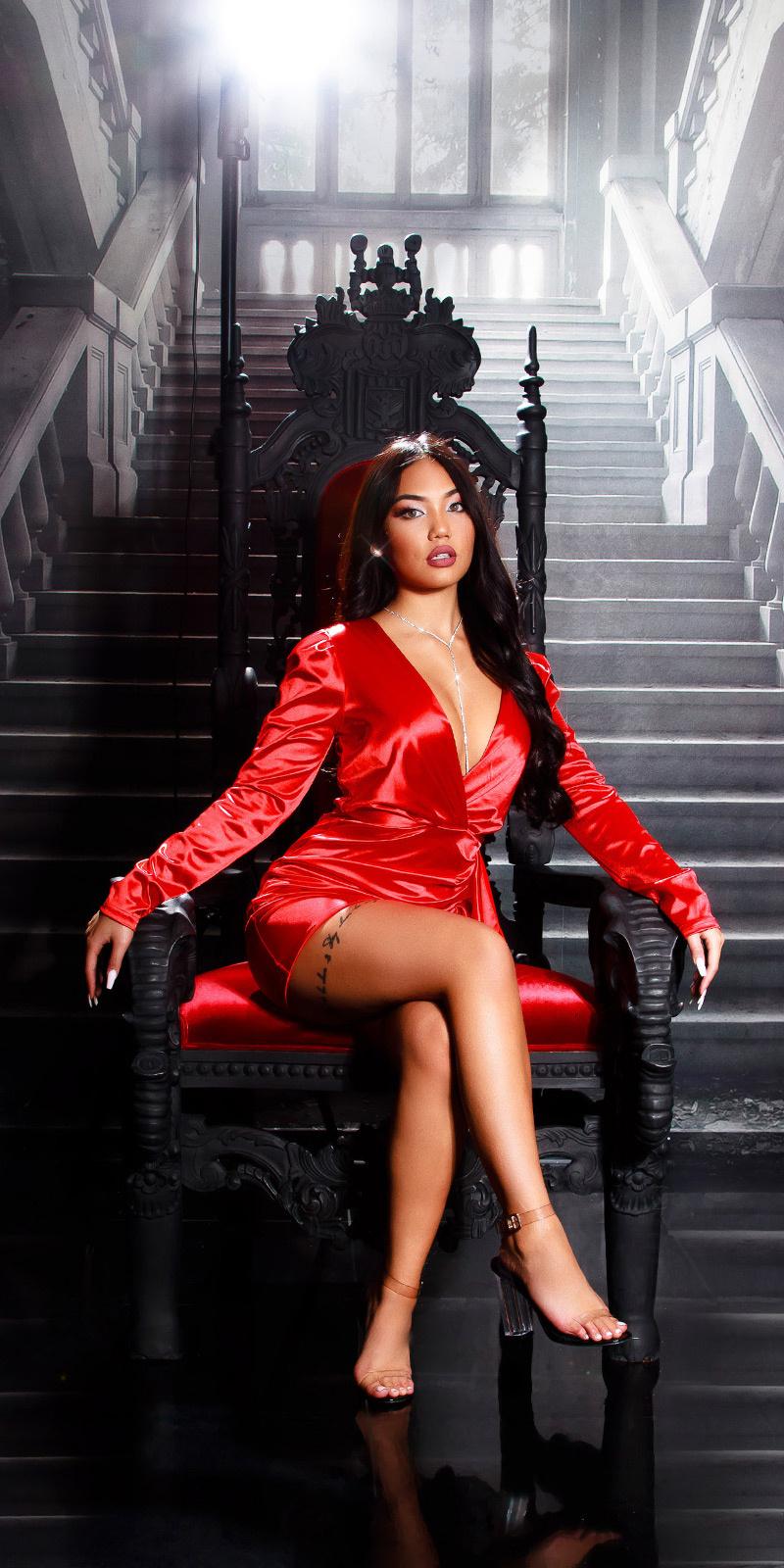 Sexy satijn look volant jurk rood