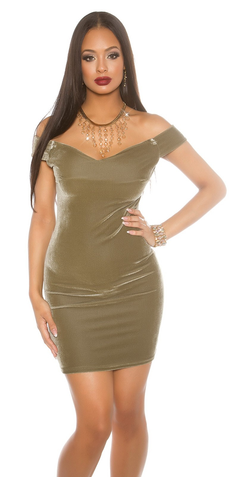 Offshoulder Velvet Mini Dress Khaki