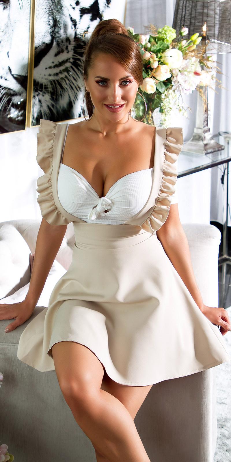 Sexy hoge taille rok beige
