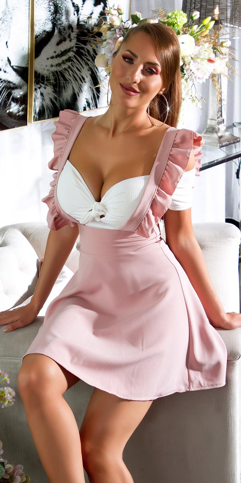 Sexy hoge taille rok roze