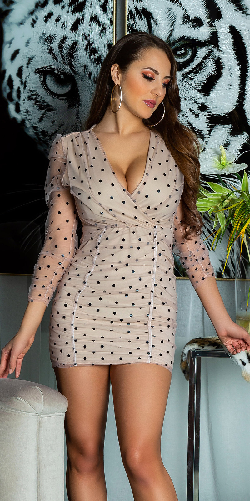 Sexy langmouw chiffon mini jurkje met polka stippen antiekroze