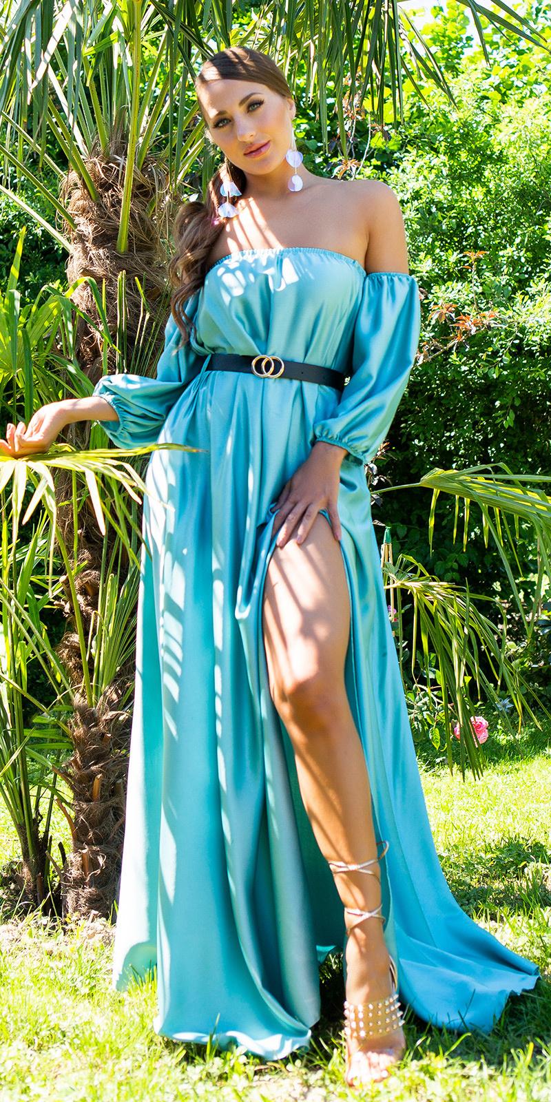 Sexy off-shoulder satijn look maxi jurk groen