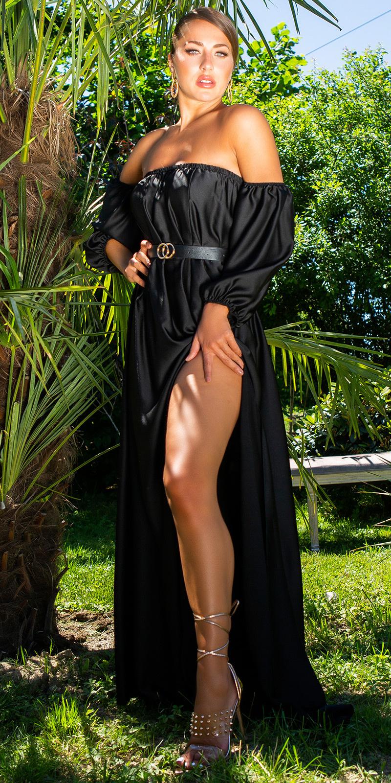 Sexy off-shoulder satijn look maxi jurk zwart